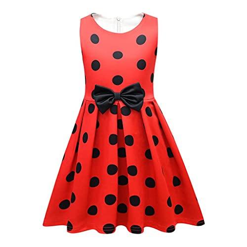Lito Angels Ladybug Marienkäfer Kostüm Kleid für Kinder Mädchen, Rot Schwarz Polka Dot, Halloween...