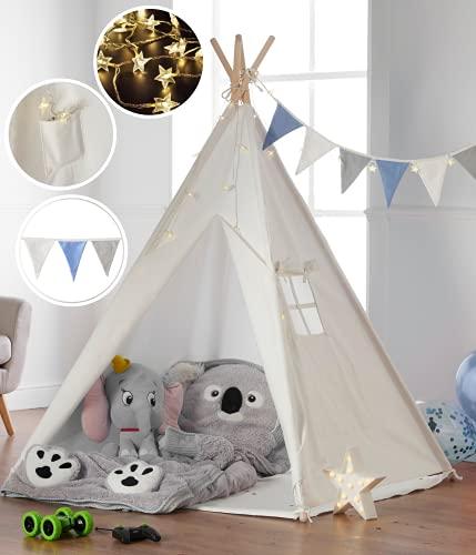 Haus Projekt Tipi-Zelt für Kinder mit Lichterkette, Wimpelkette, Aufbewahrungstasche & Bodenmatte –...