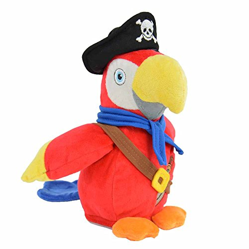 Kögler 75915 - Labertier Piraten Papagei Parry, ca. 22,5 cm groß, nachsprechendes Plüschtier mit...