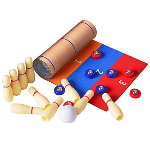 ALEOHALTER Tisch-Curling-Bowlingspiel für Kinder Shuffleboard-Spiel Tischplatte Kompaktes...