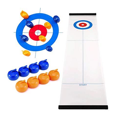 YYL Schnelles Sling Puck Spiel Tisch-Curling-Spiel Kompaktes Brettspiel mit 8 Tischplatten Curling Stones...