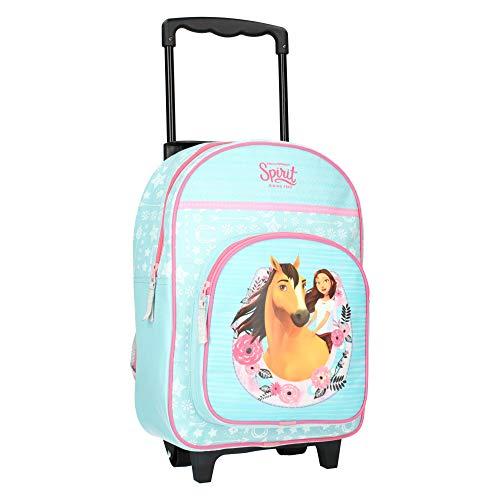 SPIRIT Trolley Kinderrucksack für Mädchen Wild unf Frei - Reisekoffer, Kinderkoffer - Pferd - Blau mit...