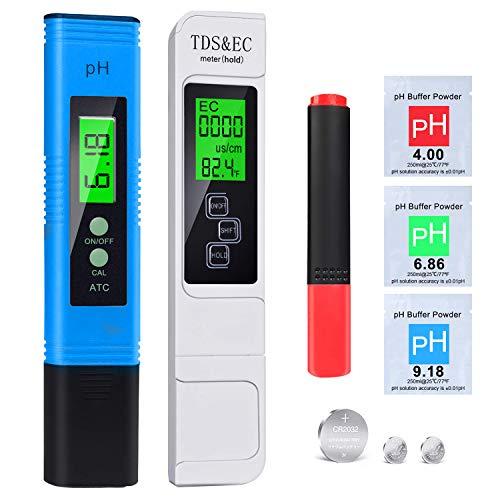 2020 pH Messgerät, pH TDS EC Temperature und BIO Tester 5 in 1 Set, Digital Wasserqualität Tester(ATC)...
