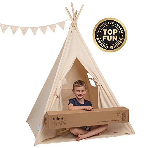 Canicove Tipi Zelt Für Kinder - Faltbares Indoor & Outdoor Set Baumwolle Naturfarben mit...