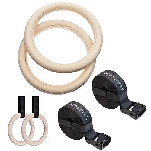 Mayporty Gym Ringe Turnringe Holz Gymnastikringe mit verstellbaren Buckles Straps 32 mm Birke Gym Rings...