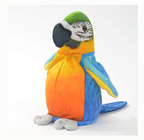 Kögler 75956 - Labertier Papagei Sunny, ca. 21 cm groß, nachsprechendes Plüschtier mit Aufnahme- und...