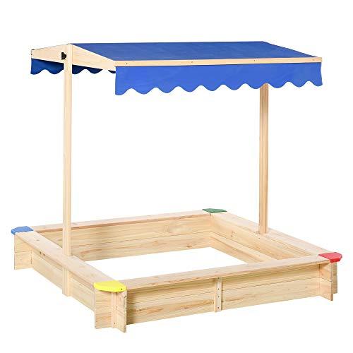 Outsunny Sandkasten Sandkiste Tannenholz Bodenloses Design mit absenkbarem und schwenkbarem Dach...
