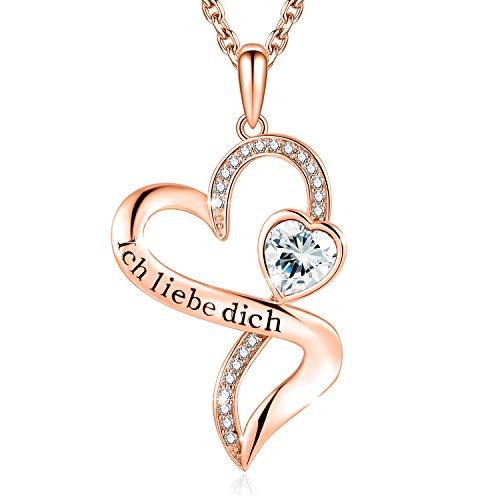 Herzkette mit Gravur'Ich Liebe Dich' Kette Damen Silber 925 Zirconia von Swarovski Halsketten für frauen...