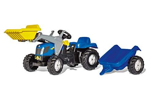 Rolly Toys 023929 - rollyKid New Holland T 7040 Trettraktor mit Anhänger (für Kinder von 2,5 bis 5...