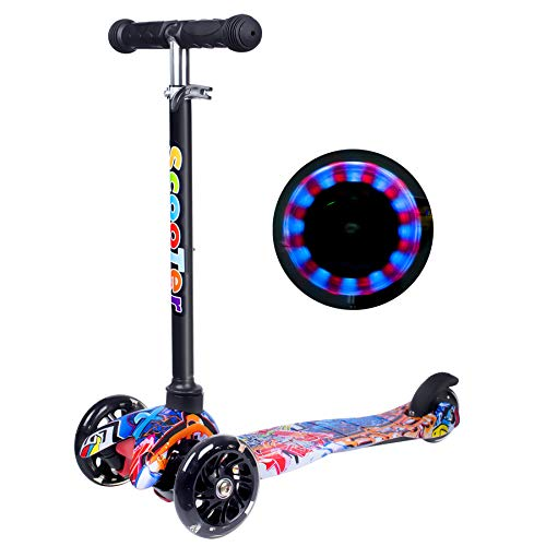 Yuanj Scooter Kinder Roller, Dreiradscooter für Mädchen und Jungen, Höhenverstellbarer und Abnehmbarer...