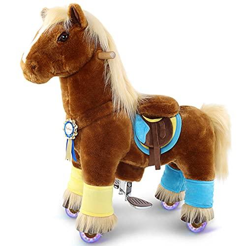 PonyCycle Official Prämie K-Serie Reiten auf Pferd Spielzeug Plüsch Walking Animal braunes Pferd mit...