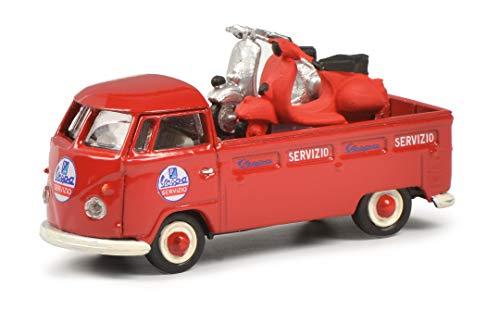 Schuco VW T1 Servizio Vespa, Pritschenwagen mit 2X Vespa Ladegut, Modellauto, Maßstab 1:87, rot,...