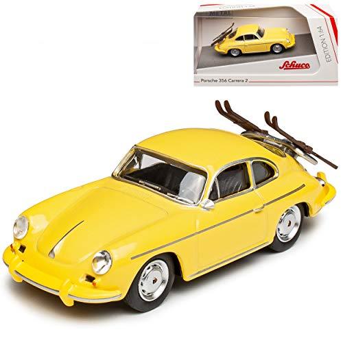 Porsche 356 Urmodell Coupe Gelb mit Skier 1948-1955 1/64 Schuco Modell Auto