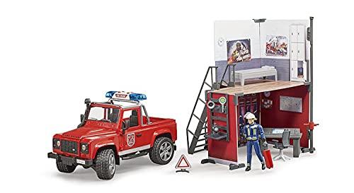 Bruder 62701 - bworld Feuerwehrstation mit Land Rover Devender und Feuerwehrmann