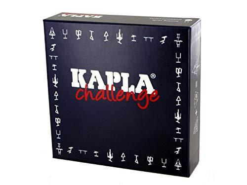 Kapla 8027 Holzplättchen Challenge 16-Teilig mit 12 Spielkarten, französische Ausgabe