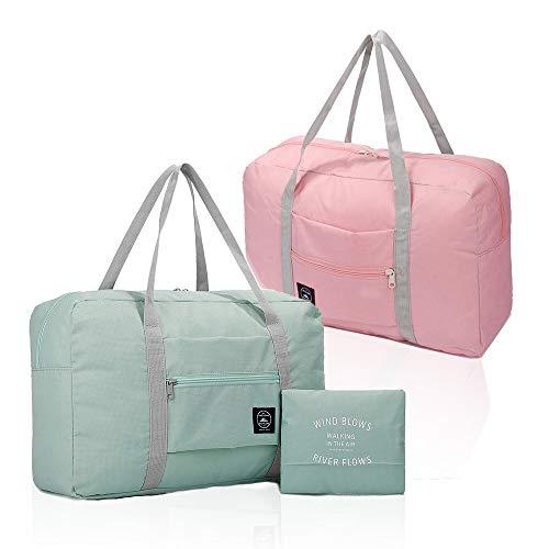 (2er Pack) Faltbare Reisetasche, wasserdichte Handgepäcktasche, leichte Reisetasche für Sport, Fitness,...