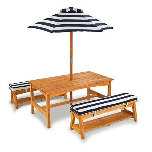 KidKraft 106 Gartentischset mit Bank, Kissen und Sonnenschirm Gartenmöbel für Kinder-Streifenmuster,...