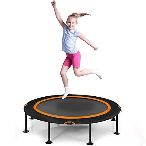 COSTWAY φ 120 cm Mini Trampolin, Fitness Trampolin faltbar, Kindertrampolin bis 65kg belastbar,...