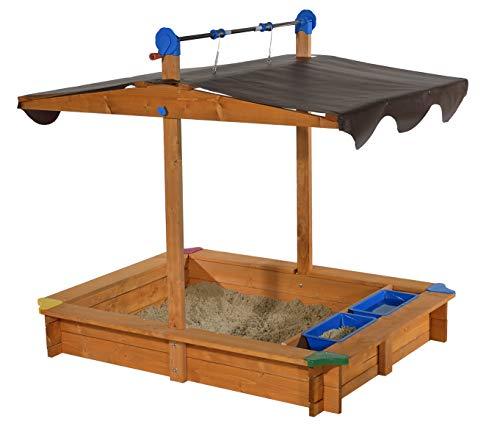 GASPO Sandkasten mit absenkbarem Dach Lea | Sandkiste mit Sonnenschutz und Matschfach | 137 x 105 x 120...