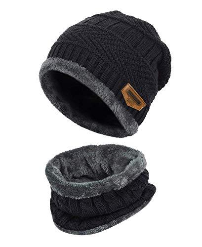 K.tchard Kinder Wintermütze Beanie Hut mit Schal Set Slouchy Strickmütze Warme Knit Skull Cap...