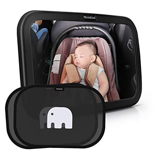 Meinkind Auto Rücksitzspiegel mit Sonnenschutz(2 Stücke) für Babys, großer Baby Autospiegel...