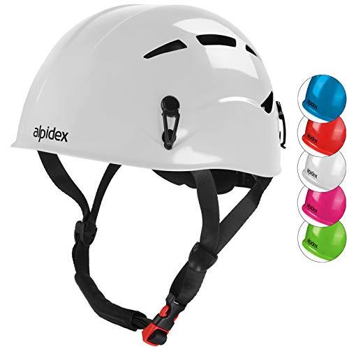 ALPIDEX Universal Kinder Kletterhelm robust und sicher - geeignet für Kopfumfang 47-54 cm (Bright White)