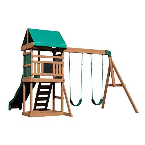 Backyard Discovery Spielturm Buckley Hill aus Holz | XXL Spielhaus für Kinder mit Rutsche, Schaukel und...