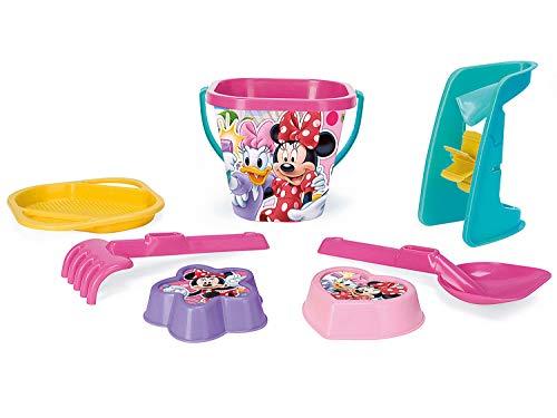 Wader 77442 Eimergarnitur Disney Minnie Mouse mit Eimer, Sieb, Sandmühle, Schaufel, Rechen und 2...