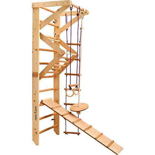 RINAGYM Kletterwand für Kinder - Indoor Klettergerüst aus Holz - Wand-Reck, Stange, Gymnastik-Ringe,...