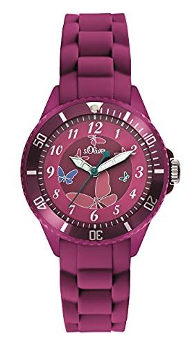 S.Oliver Mädchen Analog Quarz Armbanduhr SO-2595-PQ