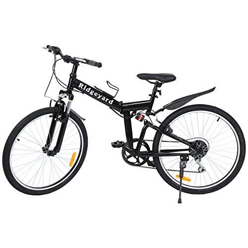 MuGuang Mountainet 26' 7-Gang Faltung Faltbares Fahrrad Fahrrad Mountainbike Shimano(Schwarz)
