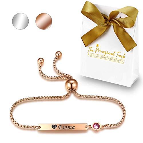 TMT Personalisiertes Geburtsstein Armband mit Gravur   Silber Rose-gold   mit namen für Frauen und...