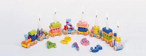 Holzzwerge Geburtstagszug mit Zahlen 1-10 und 10 Kerzen (hellblau)