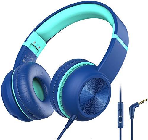 Kopfhörer Kinder, iClever Kopfhörer für Kinder, Lautstärkenbegrenzer mit Mikrofon, Faltbar, 3.5mm Aux...