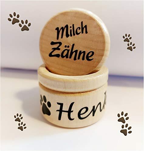 StoffJuLe - Milchzahndose mit Namen personalisiert aus Holz für Hunde, Welpen, Hundezubehör