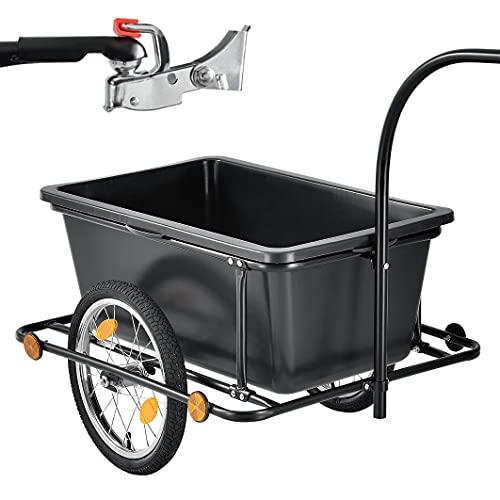 Juskys Fahrradanhänger 90 Liter - Lastenanhänger mit Kupplung, Deichsel – Anhänger für Fahrrad...