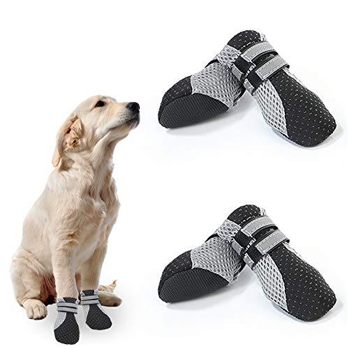 EACHPT 4PCS Hundeschuhe Pfotenschutz Wasserdicht Schutzstiefel für Hunde mit Anti-Rutsch Sohle,...