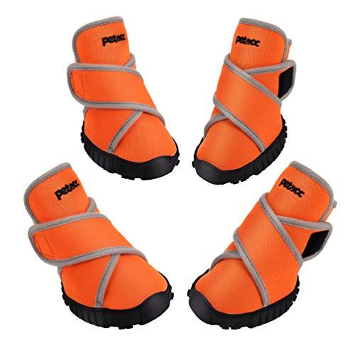 petacc Hundeschuhe, Pfotenschutz Schuhe mit rutschfeste Sohle und Wasserdichter Hochwertiger Stoff,...