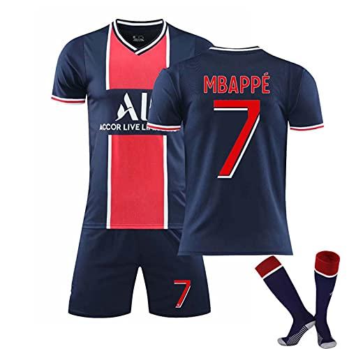 ZYYQSL Herren Fußball Trikot 2021 Paris Home # 7 Mbappé # 10 Neymar Fußball Gedenkhemd Kits Weiche...