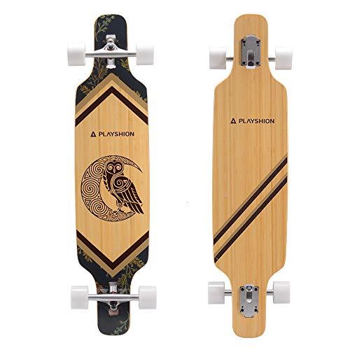 Playshion 39' Drop Through Freestyle Longboard Skateboard Bamboo 2