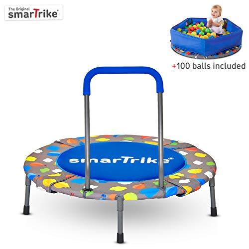 smarTrike Indoor-Kleinkind-Trampolin mit Griff, inklusive Bällebecken mit 100 Bällen, faltbares...