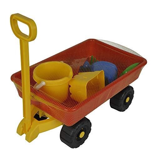 Simba 107130802 - Hand-Sandwagen, 7 Teile, Handwagen 100kg Tragkraft, Eimer, 2x Sandform, Schaufel,...
