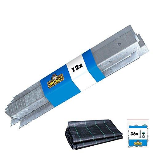 WICKEY Befestigungsanker-Set 12 Stück Winkelanker + WICKEY 3W Sandschutzfolie 250x250cm für Spielturm,...
