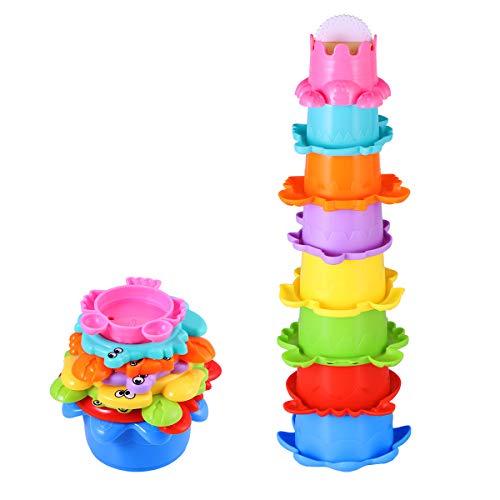 TOYMYTOY Baby Bad Spielzeug Set Stapelbecher Wasser 8PCS Abfliessen Becher Stapeln Spielzeug für Kinder...