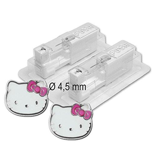 1 Paar PUREgrey Medizinische Ohrstecker Hello Kitty Ø 4,5 mm