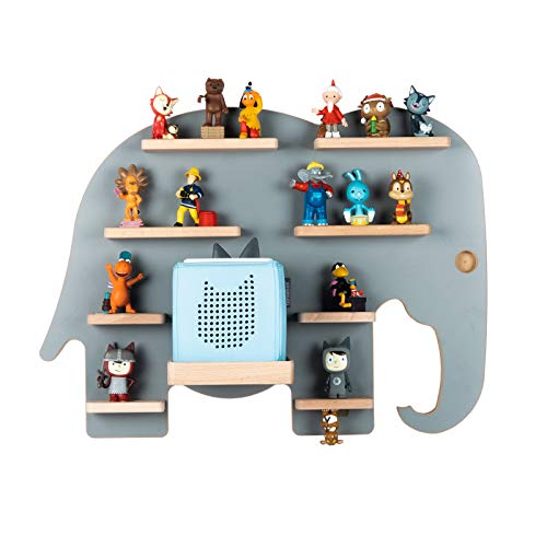 BOARTI Kinder Regal Elefant in Grau - geeignet für die Toniebox und ca. 38 Tonies - zum Spielen und...
