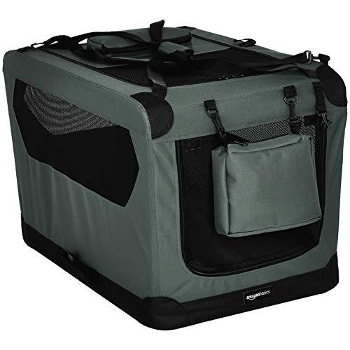 Amazon Basics - Hochwertige Haustier-Transportbox, faltbar, weich - 76 cm, GRAU