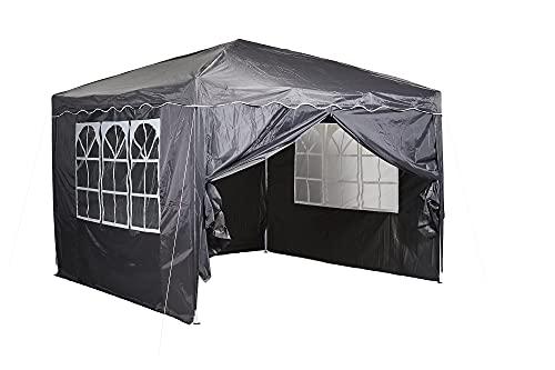 CHILLROI Faltpavillon Multifunktionszelt 3x3m Grau Polyester 200 Wasserdicht inklusive 4 Seitenwände mit...