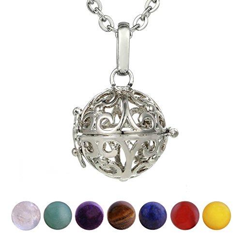 Morella Damen Halskette 70 cm Edelstahl mit Anhänger Ornament und 7 Edelsteinen Chakren-Kugeln in...