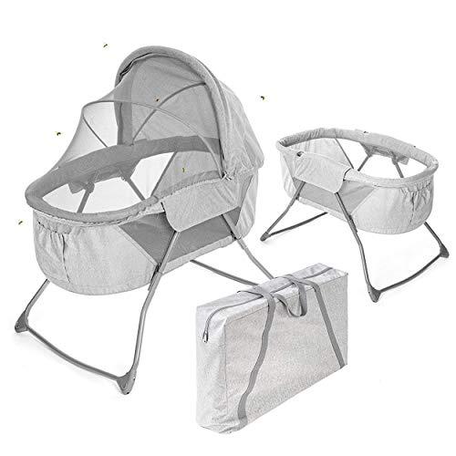 Fillikid Babywiege & portables Babybett - 90 x 40 cm Liegefläche - faltbare Schaukelwiege mit Verdeck,...